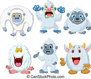 sammlung, karikatur, lustiges, satz, monster
