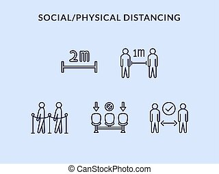 sammlung, oder, distancing, physisch, satz, ikone, entfernung, sozial