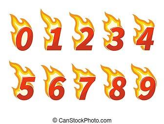 Sammlung roter Flaming-Nummern.