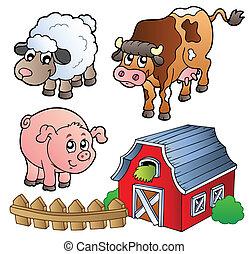 Sammlung verschiedener Nutztiere