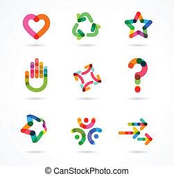 Sammlung von abstrakten bunten Business Icons.