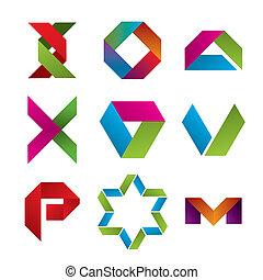 Sammlung von abstrakten Symbolen von Klebeband