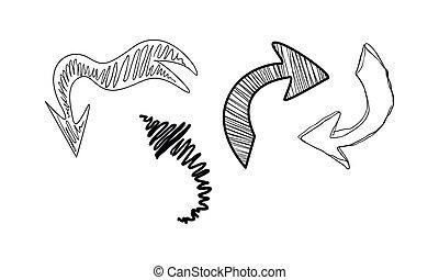 Sammlung von Hand gezeichneten Pfeilen Vektor Illustration auf einem weißen Hintergrund.