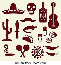 Sammlung von mexikanischen Icons im nativen Stil.