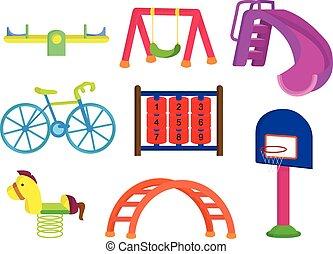 Sammlung von Park und Spielplatz für Kinder.
