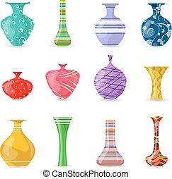 Sammlung von schönen modernen bunten Vasen für Ihr Design.