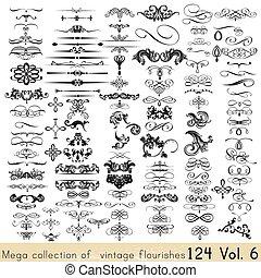 Sammlung von Vektor-Krigrafenelementen und Seitendekorationen für Ihr Design.eps
