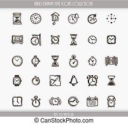 Sammlung von Zeitsymbolen.