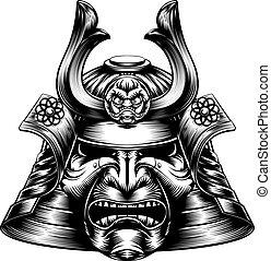 Samurai maskiert Holzschnitt.