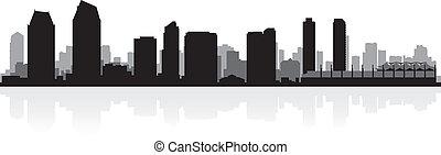 San Diego City Skyline Silhouette