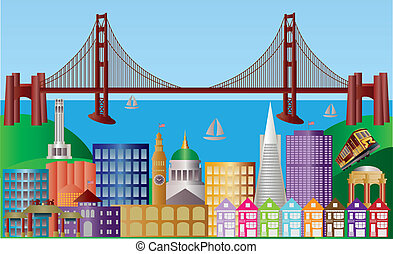 San Francisco City Skyline Panorama Illustration