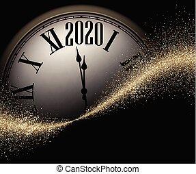 sand, gold, weihnachten, uhr, jahr, 2020, glänzend, neu , runder , illustration., black., hintergrund