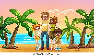 sandstrand, glückliche familie