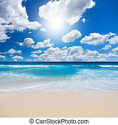 sandstrand, landschaftsbild, prächtig