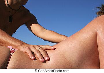 sandstrand, massage