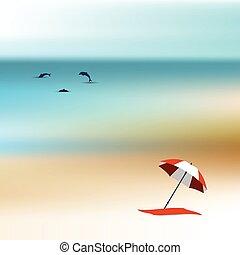 sandstrand, sonnenlicht, day.