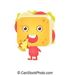 Sandwich Charakter isst Pizza.