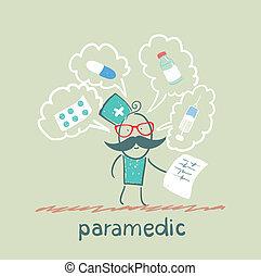 sanitäter, über, spricht, medizin