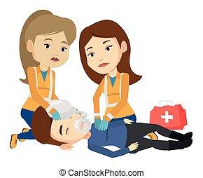 Sanitäter, die Herz-Lungen-Wiederbelebung machen.
