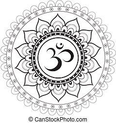Sanskrit heiliges Symbol Om mit Ethn.