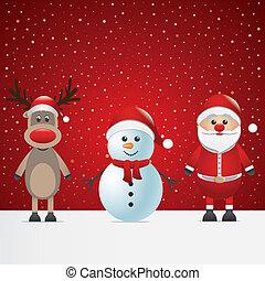 Santa Claus claus Rentier und Schneemann