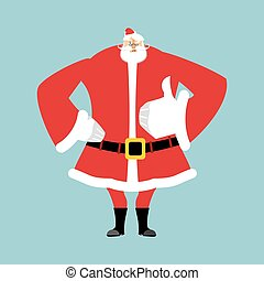 Santa Claus Daumen hoch. Handgelenk ist in Ordnung. Erfolg von Weihnachten. Viel Glück im neuen Jahr. Xmas-Vorlage