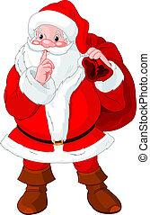 Santa Claus Gesturing shush.