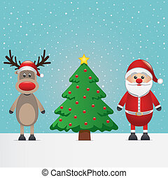 Santa Claus klaus Rentier und Weihnachtsbaum