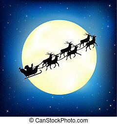 Santa Claus on sledge with Hirsch