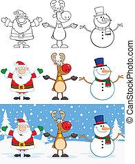 Santa Claus, Rentier und Schneemann