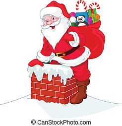 Santa Claus senkt den Kamin