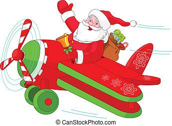 Santa fliegt sein Weihnachtsflugzeug