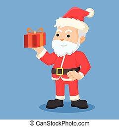 Santa-Klausel mit Geschenk.