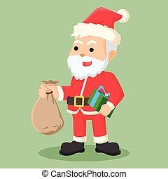 Santa-Klausel mit Geschenkbeutel.