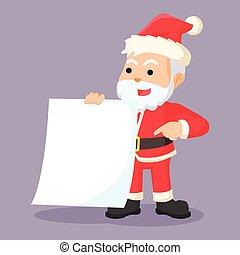 Santa-Klausel mit leerem Papier.
