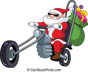 Santa mit Motorrad