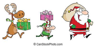 Santa mit Rentier und Elf