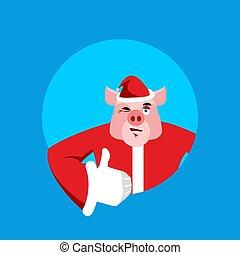 Santa Pig Daumen hoch und zwinkern. Unterschreiben Sie. Frohe Weihnachten. Die Hand sieht gut aus. Handgelenk. Gutes Farmtier in roter Farbe. Illustration für ein neues Jahr