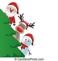 Santa Rentier und Schneemann hinter C