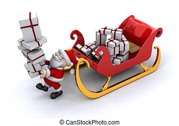 Santa und sein Schlitten