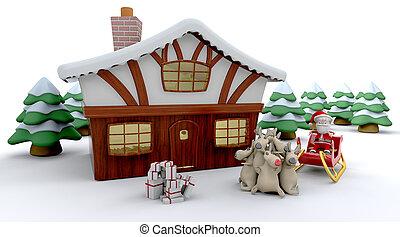 Santa und Winterkabine