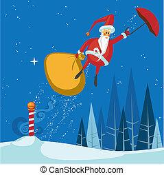 Santas magischer Regenschirmflug