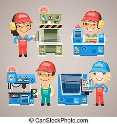 satz, arbeitende , arbeiter, fabrik, karikatur, maschinen