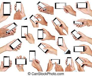 satz, beweglich, schirm, hand, telefon, besitz, leer, klug