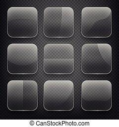 satz, checkered, heiligenbilder, app, glas, tasten, hintergrund., vektor, quadrat, durchsichtig