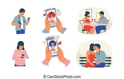 satz, communication., karikatur, anwendung, service, versammlung, vektor, acquaintance., paar, beziehung, app., mann, beweglich, woman, aussieht, reizend, development., stadien, online datierend