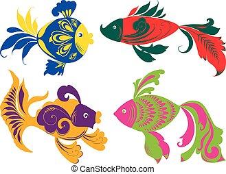 satz, dekorativ, verschieden, fische
