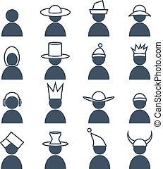 satz, differents, icons., kopfschmuck, menschliche
