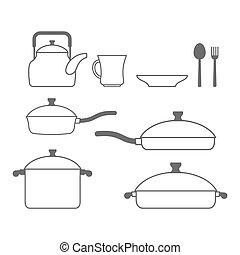 satz, dishes., lines., geräte, vektor, abbildung, kueche