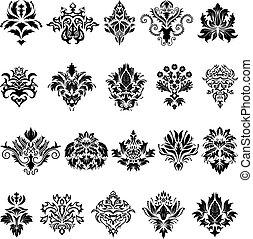 satz, emblem, damast